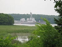 Ship launch down the Kennebec.